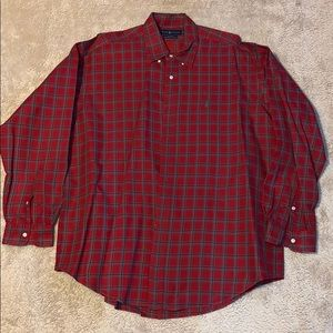Ralph Lauren Red Plaid Dress Shirt Size XL